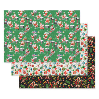 1950s Vintage Christmas Wrapping Paper Sheets