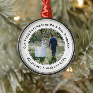 1 Photo Newlyweds First Christmas Black and White Metal Ornament