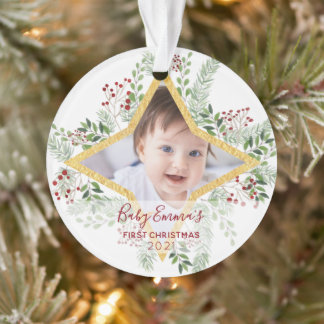 1st Baby Chrismas Gold and red Ornament
