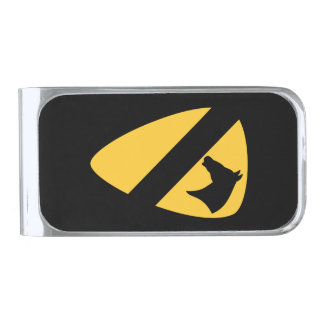 1st Cavalry Division Patch Patriotic Silver Finish Money Clip