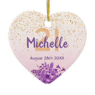 21st birthday rose gold pink florals name ceramic ornament