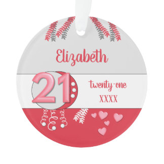 21st birthday twenty one name and year red ornament