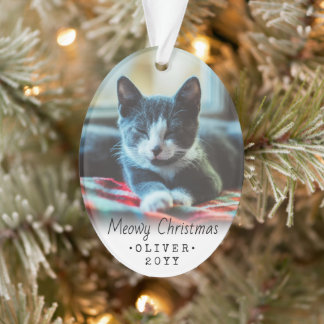 2 Photo Any Text Meowy Christmas Cat Black White Ornament