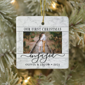 2 Photo Engagement First Christmas Faux Marble Ceramic Ornament