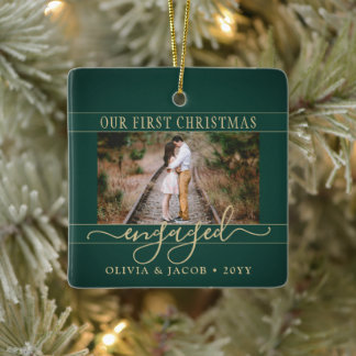 2 Photo Engagement First Christmas Green and Gold Ceramic Ornament