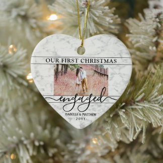2 Photo First Christmas Engaged Faux Marble Heart Ceramic Ornament