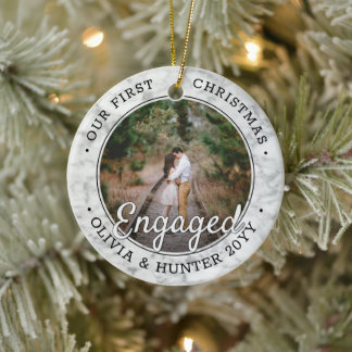 2 Photo First Christmas Engaged Modern Faux Marble Ceramic Ornament