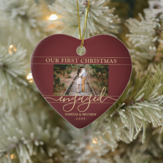 2 Photo First Christmas Engaged Red and Gold Heart Ceramic Ornament
