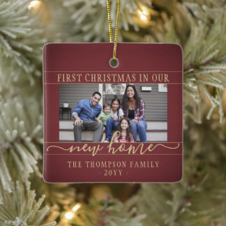 2 Photo New Home First Christmas Burgundy and Gold Ceramic Ornament