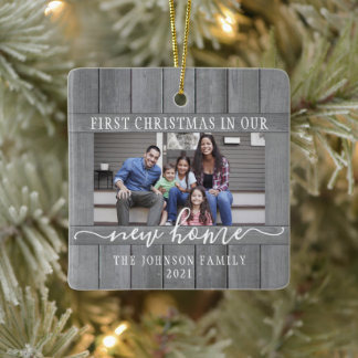 2 Photo New Home First Christmas Faux Gray Wood Ceramic Ornament
