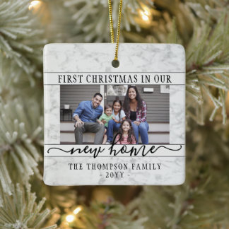 2 Photo New Home First Christmas Faux White Marble Ceramic Ornament