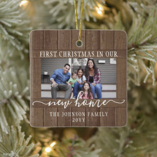 2 Photo New Home First Christmas Rustic Faux Wood Ceramic Ornament