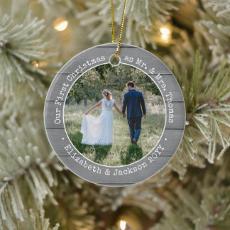2 Photo Newlyweds First Christmas Faux Gray Wood Ceramic Ornament