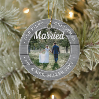 2 Photo Our First Christmas Married Faux Grey Wood Ceramic Ornament