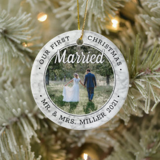 2 Photo Our First Christmas Married Faux Marble Ceramic Ornament