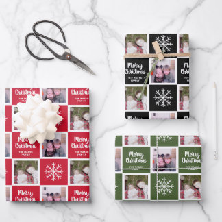 2 Photo Red Green Black Merry Christmas Snowflakes Wrapping Paper Sheets
