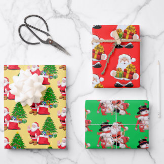 3 Santa Claus Red Green Background Pretty Gift Wrapping Paper Sheets