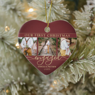 4 Photo First Christmas Engaged Burgundy Red Heart Ceramic Ornament