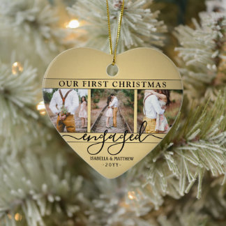 4 Photo First Christmas Engaged Faux Gold Heart Ceramic Ornament