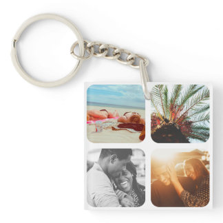8 Photo Template Double Sided Grid Rounded White Keychain