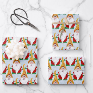 Adorable Gnome Xmas Christmas Kids Wrapping Paper Sheets