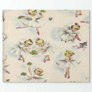 Adorable Little Ballerinas Kittens Christmas Holly Wrapping Paper