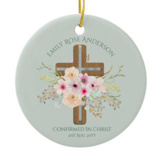 Adult CONFIRMATION Gift - Floral Cross Personalize Ceramic Ornament