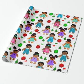 Afro Gingerbread Christmas Boy and Girl Kids Wrapping Paper