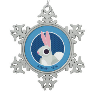 Alice the Rabbit Snowflake Pewter Christmas Ornament