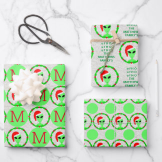 Alien Santa Holly Wreath Christmas Assortment Wrapping Paper Sheets