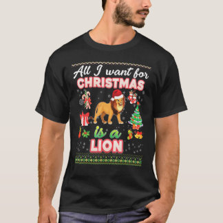 All I Want For Christmas Is A Lion Ugly Sweater Fa