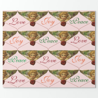 ANGEL HEART RED WAX SEAL Love Peace Joy Wrapping Paper