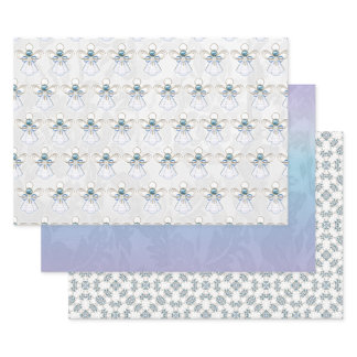 Angel of Faith, Blue Ombre Lace, Gemstone Pattern Wrapping Paper Sheets