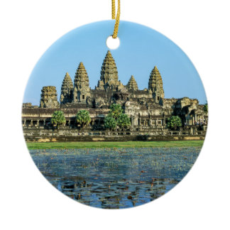 Angkor Wat and reflection in the lake - Cambodia Ceramic Ornament