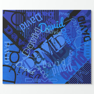 Any Name Customizable Creative Blue Wrapping Paper