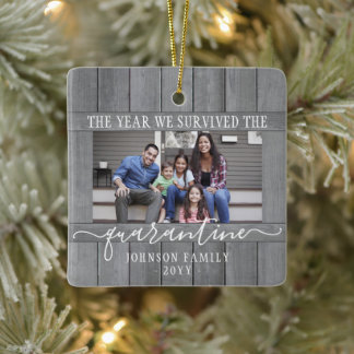 Any Text 2 Photo We Survived Quarantine Faux Wood Ceramic Ornament
