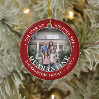 Any Text 2 Photo We Survived Quarantine Funny Red Ceramic Ornament