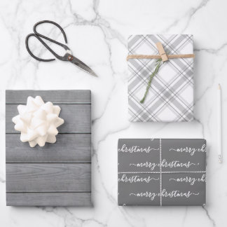 Any Text Typography Wood Plaid Farmhouse Christmas Wrapping Paper Sheets