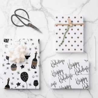 Artsy Cocktails Polka Dot Gold Black White Festive Wrapping Paper Sheets