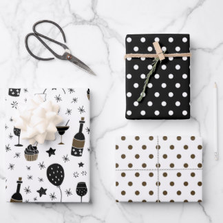 Artsy Cocktails Stars Polka Dot Gold Black white Wrapping Paper Sheets