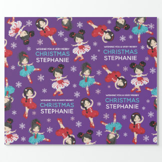 Asian Christmas Ballerina Wrapping Paper
