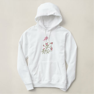 Asian Inspired Butterfly and Cherry Blossoms Embroidered Hoodie