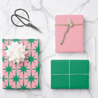 Atomic Age 50s Starbursts - Green and Pink Wrapping Paper Sheets