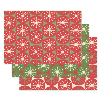Atomic Age Retro Dots in Christmas Green Red Cream Wrapping Paper Sheets