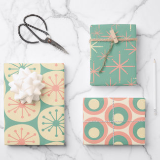 Atomic Age Retro Patterns Blush Pink and Teal Wrapping Paper Sheets