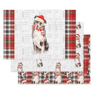 Australian Shepherd Christmas Dog and Plaid Wrapping Paper Sheets