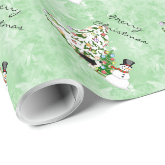 Australian Shepherd Christmas with Snowman Wrapping Paper