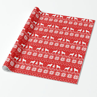 Australian Shepherd Silhouettes Christmas Dogs Red Wrapping Paper