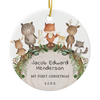 Baby 1st First Christmas Woodland Forest Animals Ceramic Ornament