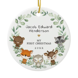 Baby 1st First Christmas Woodland Greenery Animals Ceramic Ornament